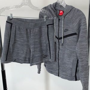 GRAY Nike KNIT Shorts & Jacket  Set